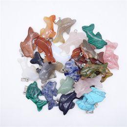Necklaces Pendants Australia - dolphin Pendant Natural Stone jewelry turquoise pendants multicolour Stone pendants quartz crystal agate fit necklaces for necklace