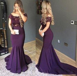 black satin stretch elastic 2020 - Graceful Off Shoulder Dark Purple Mermaid Evening Dresses 2019 Applique Stretch Satin Sweep Long Prom Formal Gowns Cheap