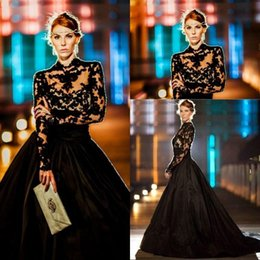 Wholesale Evening Dresses High Neck Long Sleeves Lace Taffeta Plus Size Ball Gown Prom Dresses Modest Black Celebrity Dress Sweep Train