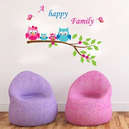 $enCountryForm.capitalKeyWord Canada - Owls happy family of four Decal Stickers A Happy Family Wall Art Murals Kids Room Nursery Lettering Quote Wall Home Decoration