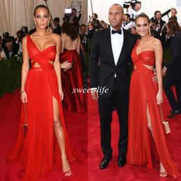 cheap red one shoulder dress Canada - 2019 Sexy Celebrity Dresses Cheap A-Line One Shoulder Side Split Chiffon See Through Sheer Red Carpet Long Party Prom Dresses Evening Gowns