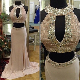 cheap triangle tops Canada - Sexy Two 2 Pieces Prom Dresses Mermaid 2018 Real Image Pearls Beads Rhinestones Cheap Crop Top Long Formal Evening Party Gowns