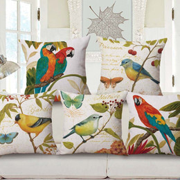 parrot cushions Australia - 6 Styles Birds Parrot Cushion Covers Watercolor Painting Butterfly Bird Tree Green Leaves Cushion Cover Sofa Beige Linen Pillow Case