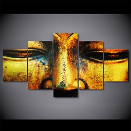 art canvas prints Australia - 5 Pcs Set Framed HD Printed Golden Buddha Face Artwroks Canvas Print Poster Asian Modern Art Oil Paintings Pictures