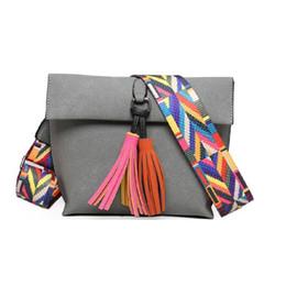 $enCountryForm.capitalKeyWord Canada - hot Women Scrub Leather Design Crossbody Bag Girls With Tassel Colorful Strap Shoulder Bag Female Small Flap Handbag