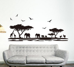 Africa Animals Canada - Personality Design Black Fashion Africa Animals Wall Stickers Background Fashion Bar Glass Sitting Room Home Decor