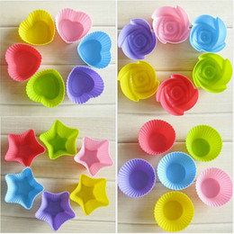 Cup Cake Muffin Holder Canada - 7CM cupcake silicone cake Cup molds cake muffin cases silicone chocolate molds single cupcake holder baking tools