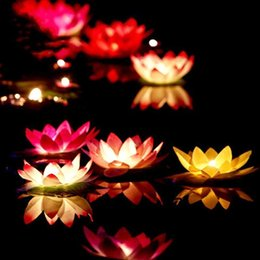 Floating Flowers candles online shopping - Artificial LED Floating Lotus Flower Candle Lamp With Colorful Changed Lights For Wedding Party Decorations Supplies
