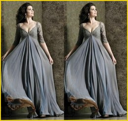 Robes Manches Longues Empire Pas Cher-Deep V-Neck 2015 Robe de soirée à manches longues Empire Empire à manches longues en mousseline de soie Robe à manches courtes en mousseline de soie