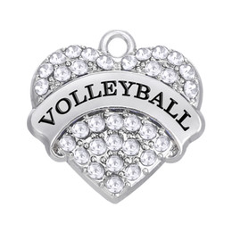 $enCountryForm.capitalKeyWord Canada - Colorful Crystal Heart Charms for Women Jewelry Message Volleyball Sports Pendant Sweet Heart Rhodium Plated For necklace