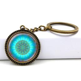 $enCountryForm.capitalKeyWord NZ - New Blue Flower Of Life Key Ring Art Glass Pendant Mandala Key Chain Sacred Geometry Keychain handmade Jewelry For Women Gifts