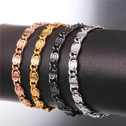 trendy roses NZ - U7 Snail Bracelets Gold Platinum Black Rose Gold Plated Chain 6MM 21CM Trendy Fashion Chains Men's Bracelets Perfect Accessories H2516