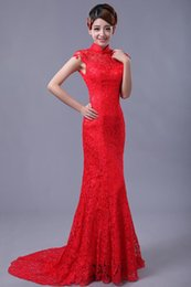 Chinese Sexy Crystal Dress Canada - Chinese style fish tail long cheongsam evening dress lace bride cheongsam fish tail chinese qipao long lace dress 2016 prom dresses