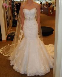 Discount high mermaid wedding dress bling - Luxury Bling Lace Mermaid Wedding Dresses Sweetheart Corset Sweep Train Bridal Gowns Custom Make Vestidos De Noivas With