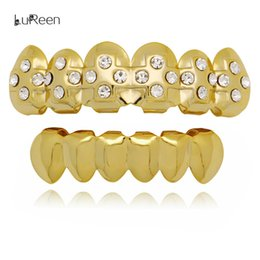 $enCountryForm.capitalKeyWord Canada - LuReen 14k Gold Silver Grills Teeth Cross Rhinestone Top and Bottom Teeth Set Vampire Fangs Halloween Jewelry