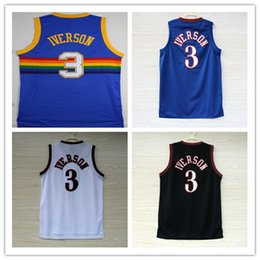Mejor Estilo Para Hombres Baratos-Hombres Allen Iverson 3 Basketball Jerseys Best Quality Throwback suit 1964 Retro Black Color rojo Talla S-XXXL Sports Style 76ers Camisetas