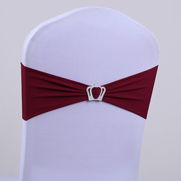 wholesales chair covers Canada - Wedding chair covers rhinestone ribbon crown buckle with the finished product back elastic bow tie chair cover decorative