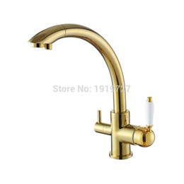 2016 Solid Brass Swivel 3 In 1 Drinking Water Kitchen Faucets Robinet Para  Torneira Wels Sink Mixer Tri Flow 3 Way Filter Taps
