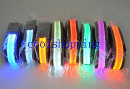 Light Dog Collar Belt Canada - Pets Dog Safety Collar 8 Colors LED Leash Rope Belt Flashing Harness Lead Light Black Nylon