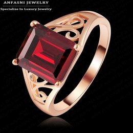 Wholesale-Classic Royal Wedding Rings Western Popular Real Rose Gold Plated High Imitation Ruby Ring Accessories Ri-HQ1109-A