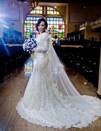$enCountryForm.capitalKeyWord NZ - 2017 Gorgeous Mermaid Wedding Dresses Jewel Neck Lace Beads Crystal Pearls Long Sleeves V Back Illusion Court Train Plus Size Bridal Gowns