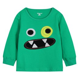 T-shirt À Col Rond Pas Cher-2,015 Automne arrivée de nouveaux t-shirts Garçons Cartoon Applique enfants T-shirt à manches longues col rond Joker Casual Tops For Kids K163