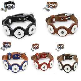 Sports Buttons Canada - Hot sale Vocheng NOOSA Genuine Leather Bangles with 3pcs Snap Buttons Jewelry 5 color DIY Jewelry Accessory E61L