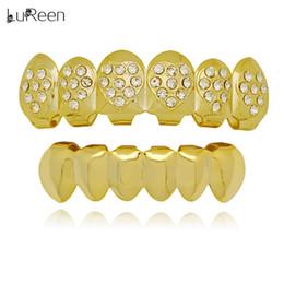 $enCountryForm.capitalKeyWord NZ - LuReen Gold Silver Teeth Grillz Heart Shaped Bling Bling CZ 6 Top and Bottom Teeth Set Caps Halloween Body Jewelry Gift
