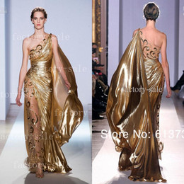 China Hot One shoulder Gold Pageant Gowns Zuhair Murad Haute Couture Appliques Shiny Long Evening Dresses 9390 cheap zuhair murad couture dresses suppliers
