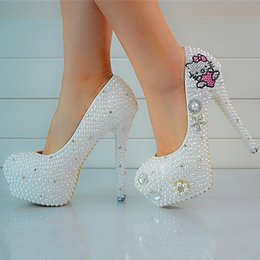 Luxury Rhinestone Beaded Wedding Dress Canada - luxury Beaded Pearls Lady's Formal Shoes Women's High Heels Bridal Evening Prom Party Wedding Dress Bridesmaid Shoes
