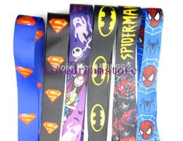 $enCountryForm.capitalKeyWord Canada - Free Shipping 100 pcs Cartoon Superman batman Super hero Neck Lanyard key chain Mobile cell phone neck straps charms