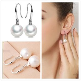 mother pearl round pendant 2019 - 925 Sterling Silver Plated Pearl Earrigns Jewelry With Round Pearl Ball Charms Pendant Dangle Earrings For Women