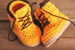 Purple Knit Fabric Canada - 2015 Yellow Crochet Baby Boots first Walker Shoes InfantWarm Handmade Knit High-top Tall Boots Shoes 0-12M custom
