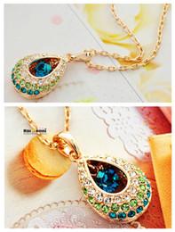 $enCountryForm.capitalKeyWord Canada - Fashion Jewelry CZ Diamond 18K Gold Plated Sapphire Emerald Ruby Crystal Necklaces Pendants For Women Brand Jewelry