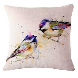 Wholesale- Pillow Case 45x45cm Pillow Bird Print Cotton Decorative Pillow  Covers Capa Para Almofada Cama Para Animais De Custom Made Drop