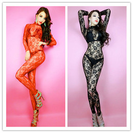 Barato Gatinho De Rendas Sexy-2016 New Sexy Lace Zentai BodySuit Mulheres Stage Outfits Fancy Dress Catsuit Costume Temático Party DJ Performers