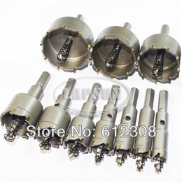 tungsten carbide hole saw NZ - 10pc set Carbide Tip T.C.T Drill Bit Cutter Hole Saw Set Tool for Steel Metal Alloy Wood 20mm 25mm 30mm 35mm 45mm 50mm 53mm