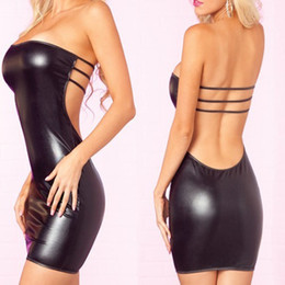 Jupe Lingerie Femme Pas Cher-Backless Sheath Sexy Lingerie Hot Women Imitation Leather Skirt Teddy Club Vêtements Sexy Costume Erotique Sous-vêtements Robes exotiques