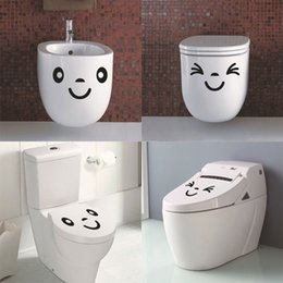 Sticker Cartoon Smile Canada - Hot sale Smile Funny decorative waterproof vinyl toilet stickers Bathroom Home Decor Wall Art Decal Free Shipping