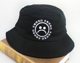 Wholesale Chinese Hat Australia - Wholesale-2015 Summer Black Unisex Cotton Chinese Letter Sad Face Printed Bucket Hat Boonie Hunting Fishing Outdoor Cap Hip hop Sun Hats