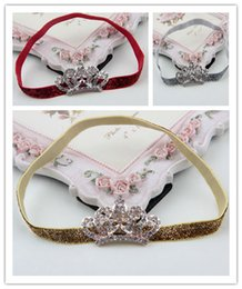 $enCountryForm.capitalKeyWord Canada - Infant Rhinestone hair band fashion Crown headbands for girls Children's hair accessories Toddler headwear kids Photography props 20pcs lot