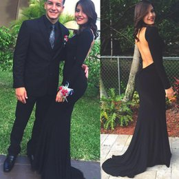 Barato Baile De Formatura Barato-Backless 2K15 Prom Dresses Mermaid Scooped Neck Mangas compridas Sweep Train Spandax Tecido Vestidos de festa de Natal China Cheap Online For Sale