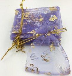 Ingrosso Sacchetto della garza dell'oro della farfalla porpora dell'organza / sacchetto della garza del regalo / sacchetto dei monili / sacchetto / sacchetto / sacchetto 100pcs / lot circa 10 * 12cm WQ25