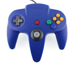 Systèmes De Jeux En Gros Pas Cher-Wholesale-New Blue Game Gaming Long Handle Controller Remote JoystickGame Fit pour Nintendo 64 pour N64 System Retro Design