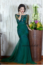 Barato Baile De Formatura Barato-Vestidos de baile Longa Esmeralda Long Vestidos de baile Mermaid Lace Beaded Off the Shoulder 3/4 Sleeves Splits Chiffon Christmas Party Gown Cheap