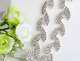 Discount wedding dress rhinestone trim - 1 Yard Sparkle Rhinestones Crystals Leaf Shape Silver Plated Ribbon Chain Trim Fow Sewing Wedding Dress Diy Craft