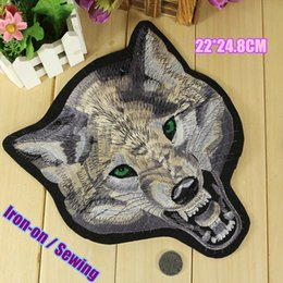 Bikers Back Patches Canada - 22*24.8CM wolf big iron on biker patches jacket back patch embroidered