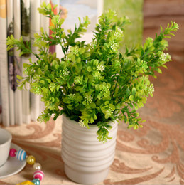 wholesale fake flowers shipped free Australia - Beautiful Artificial Green Milan Plastic Plant Leaf Diy Craft Ornament 7 Branches Per Bouquet Home Decor Fake Flower Free Shipping