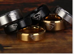 Discount superman rings - Europe new fashion 6mm and 8mm superman men's titanium steel ring personality ring 3 color