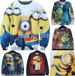 Sac À Main Hoodie Minion Méprisable En Gros Pas Cher-Hoodies femmes / hommes mignon bande dessinée gros-2015 Despicable Me 3D PRINT simpsons sweat sbires d'hiver manteau vêtements Harajuku top